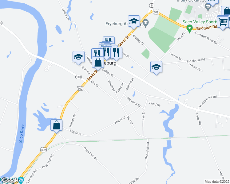 map of restaurants, bars, coffee shops, grocery stores, and more near 399 East Main Street in Fryeburg