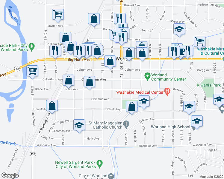 map of restaurants, bars, coffee shops, grocery stores, and more near Grace Avenue in Worland