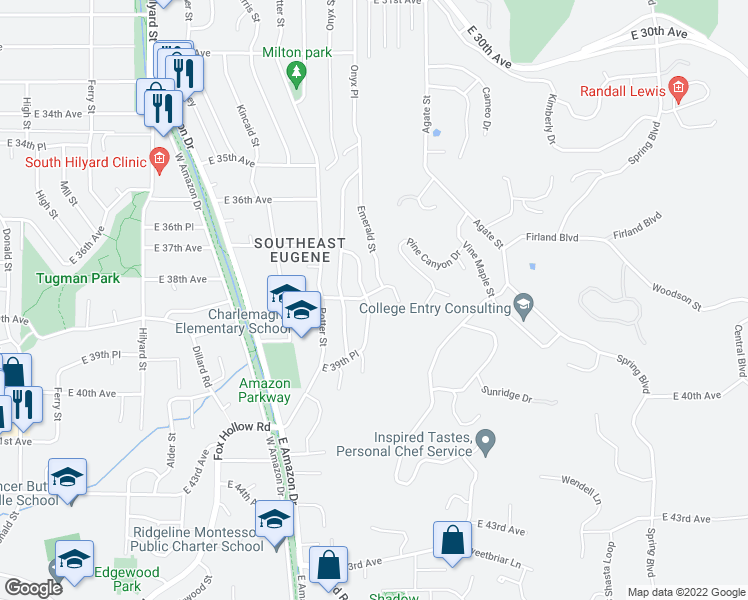 map of restaurants, bars, coffee shops, grocery stores, and more near 3805 Onyx Street in Eugene