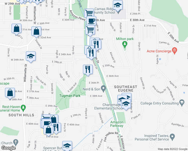 map of restaurants, bars, coffee shops, grocery stores, and more near 715 East 36th Avenue in Eugene