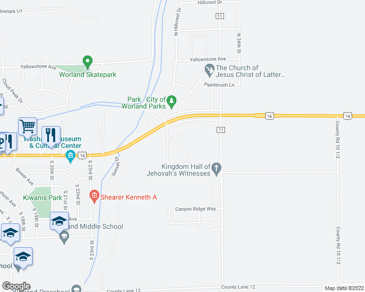 map of restaurants, bars, coffee shops, grocery stores, and more near Country Drive in Worland