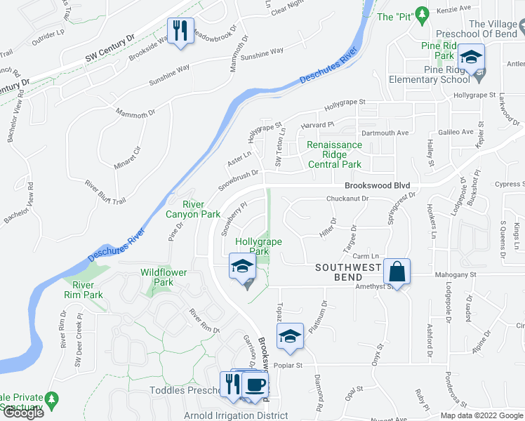 map of restaurants, bars, coffee shops, grocery stores, and more near 61065 Chamomile Place in Bend