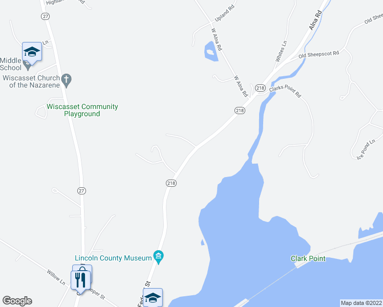 map of restaurants, bars, coffee shops, grocery stores, and more near 213-243 Federal Street in Wiscasset