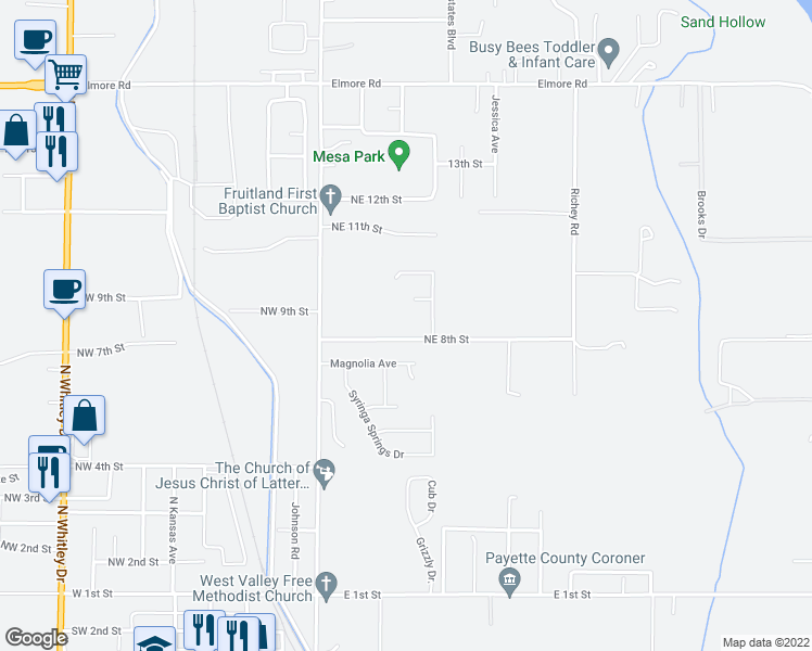 map of restaurants, bars, coffee shops, grocery stores, and more near 2070 Northeast 8th Street in Fruitland