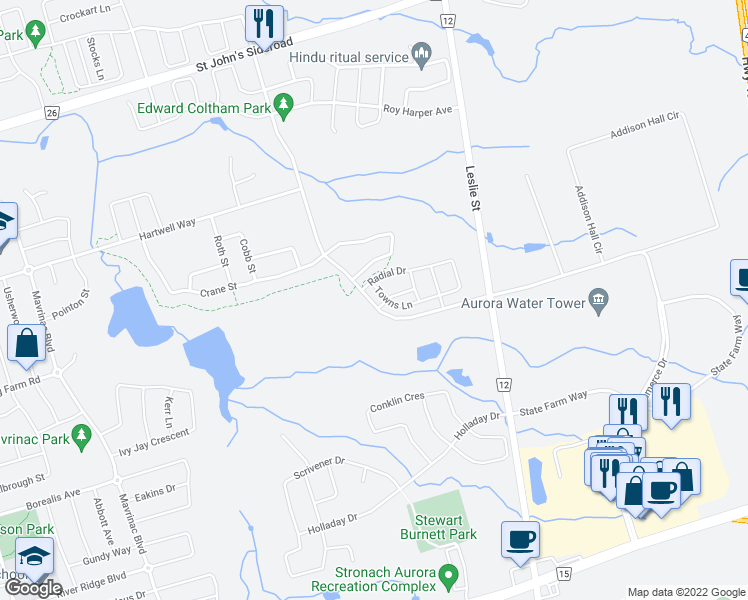 map of restaurants, bars, coffee shops, grocery stores, and more near 349 William Graham Drive in Aurora