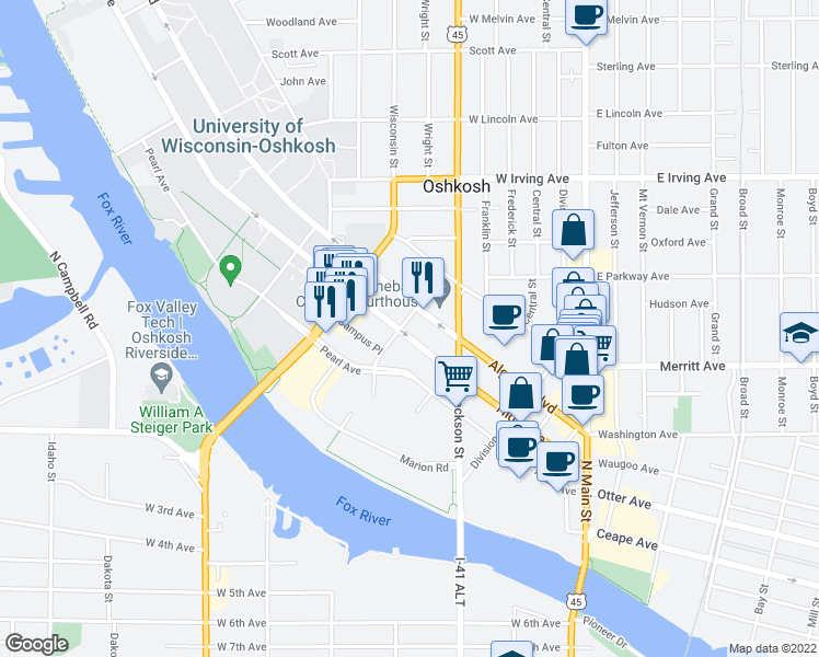 map of restaurants, bars, coffee shops, grocery stores, and more near 304 Dawes Street in Oshkosh