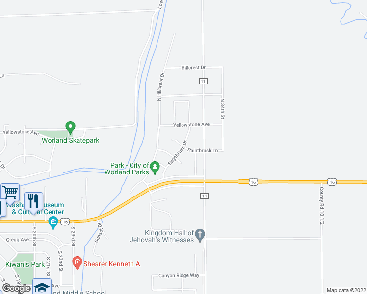 map of restaurants, bars, coffee shops, grocery stores, and more near Sagebrush Drive in Worland