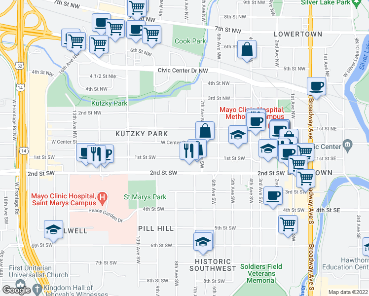 map of restaurants, bars, coffee shops, grocery stores, and more near 722 West Center Street in Rochester