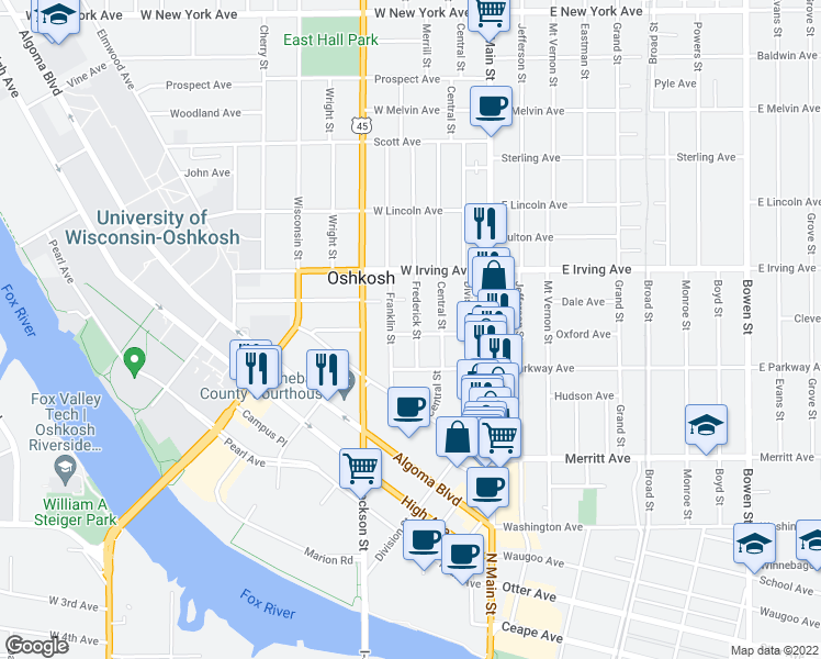 map of restaurants, bars, coffee shops, grocery stores, and more near 639 Frederick Street in Oshkosh