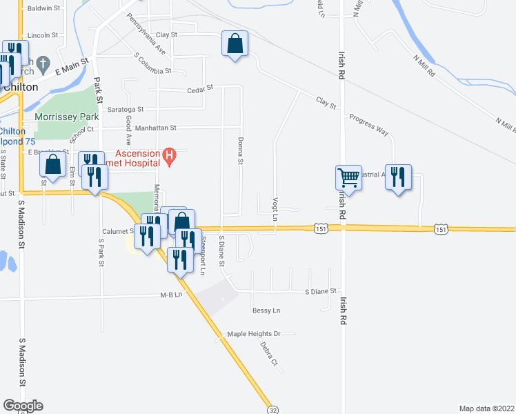 map of restaurants, bars, coffee shops, grocery stores, and more near 823 Vogt Lane in Chilton