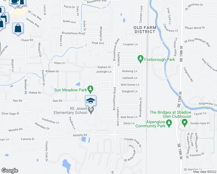 map of restaurants, bars, coffee shops, grocery stores, and more near 61217 Dayspring Drive in Bend