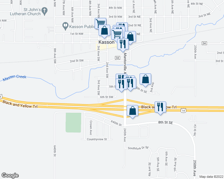 map of restaurants, bars, coffee shops, grocery stores, and more near 104 5th Street Southwest in Kasson