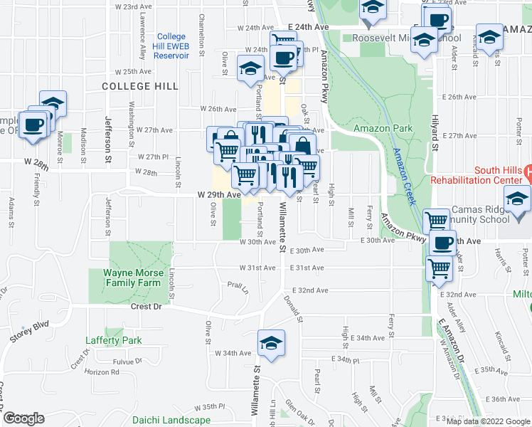 map of restaurants, bars, coffee shops, grocery stores, and more near 2933 Portland Street in Eugene