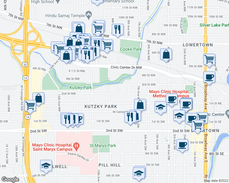 map of restaurants, bars, coffee shops, grocery stores, and more near 835 2nd St NW in Rochester