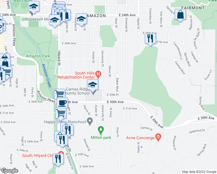 map of restaurants, bars, coffee shops, grocery stores, and more near 2860 Elinor Street in Eugene