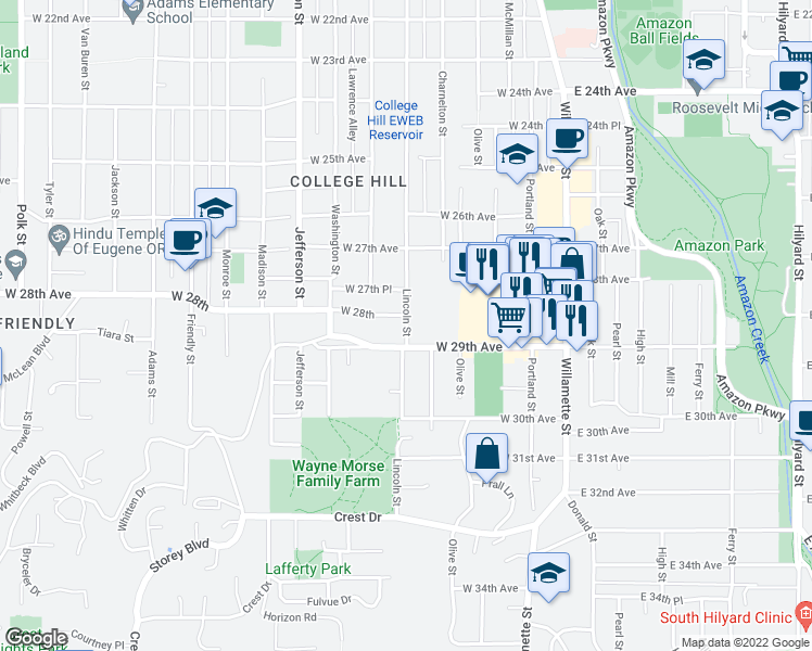 map of restaurants, bars, coffee shops, grocery stores, and more near 365 West 29th Avenue in Eugene