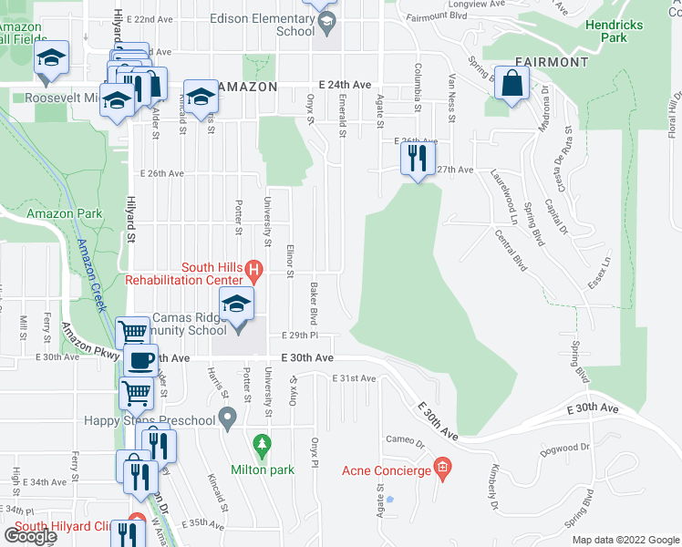 map of restaurants, bars, coffee shops, grocery stores, and more near 2803 East 28th Avenue in Eugene