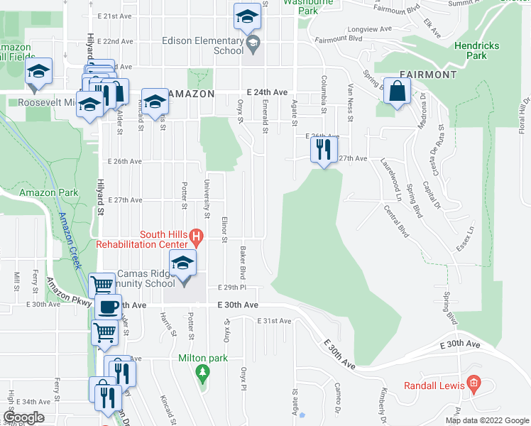 map of restaurants, bars, coffee shops, grocery stores, and more near 2750 Emerald Street in Eugene