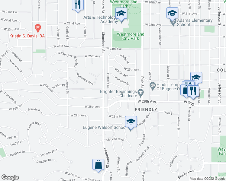 map of restaurants, bars, coffee shops, grocery stores, and more near 2740 Malibu Way in Eugene