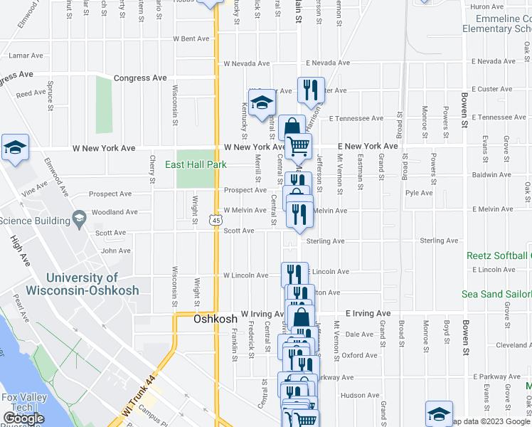 Oshkosh Campus Map.109 West Melvin Avenue Oshkosh Wi Walk Score