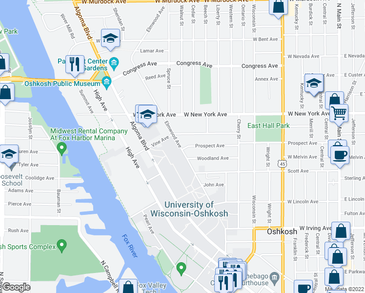 map of restaurants, bars, coffee shops, grocery stores, and more near 1002 Elmwood Avenue in Oshkosh