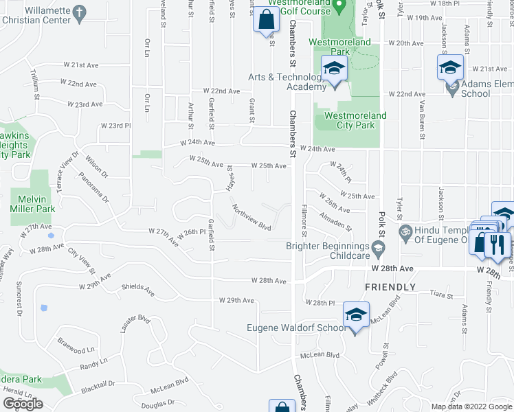 map of restaurants, bars, coffee shops, grocery stores, and more near 1710 Northview Boulevard in Eugene