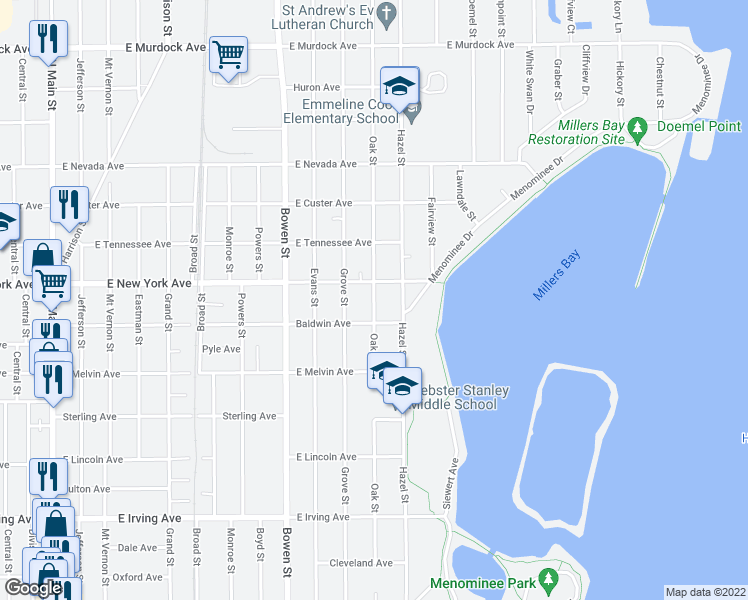 map of restaurants, bars, coffee shops, grocery stores, and more near Oak Street in Oshkosh