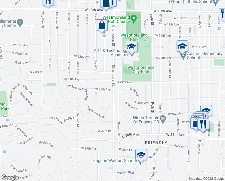 map of restaurants, bars, coffee shops, grocery stores, and more near 1745 West 25th Avenue in Eugene