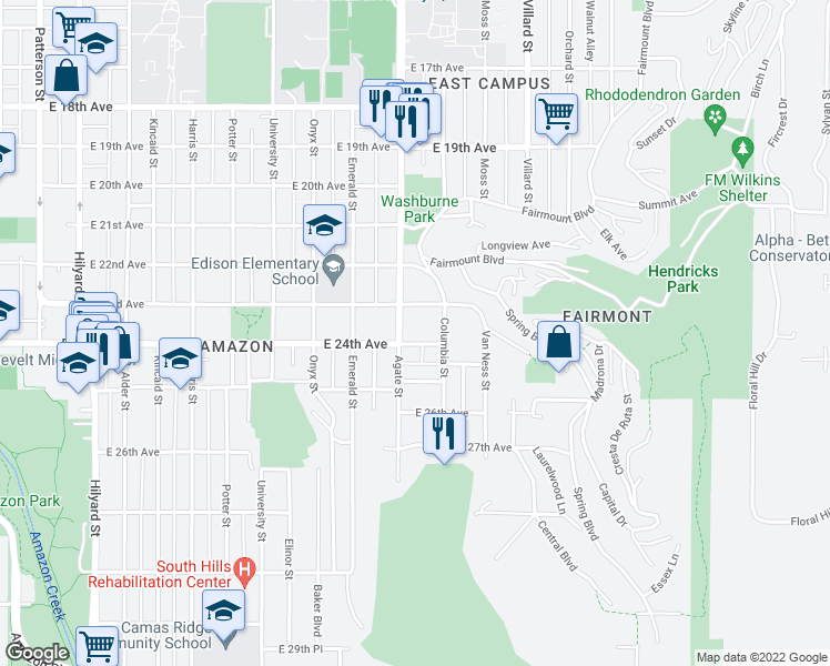 map of restaurants, bars, coffee shops, grocery stores, and more near 1645 East 24th Avenue in Eugene