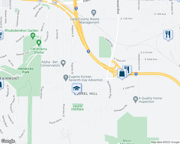 map of restaurants, bars, coffee shops, grocery stores, and more near 2506 Moon Mountain Drive in Eugene