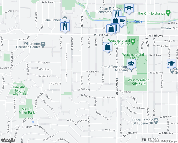 map of restaurants, bars, coffee shops, grocery stores, and more near Garfield Street & West 22nd Avenue in Eugene