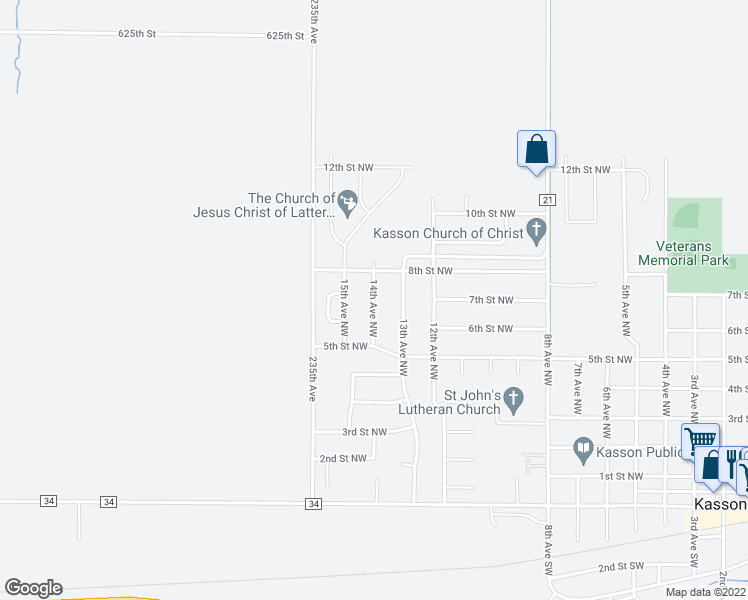 map of restaurants, bars, coffee shops, grocery stores, and more near 14th Avenue Northwest in Kasson