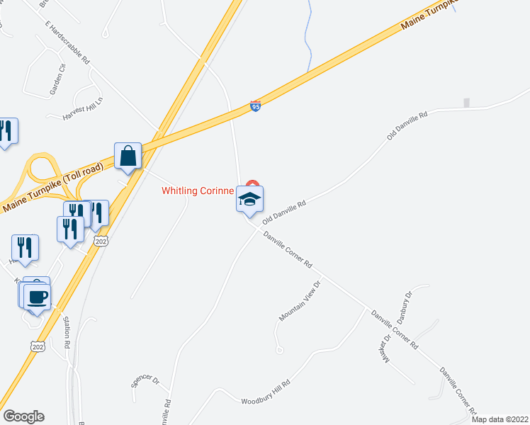 map of restaurants, bars, coffee shops, grocery stores, and more near 647 Old Danville Road in Auburn
