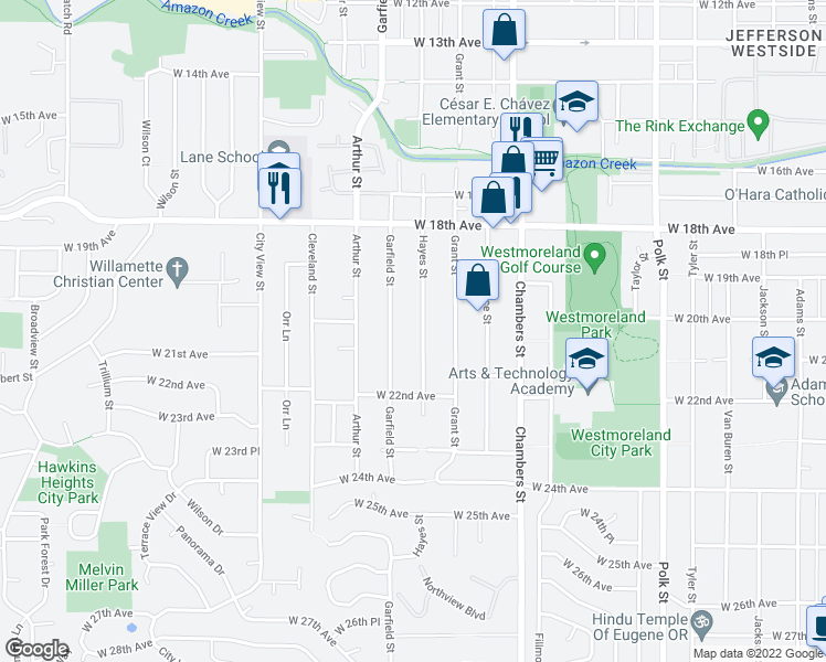 map of restaurants, bars, coffee shops, grocery stores, and more near 2055 Hayes Street in Eugene