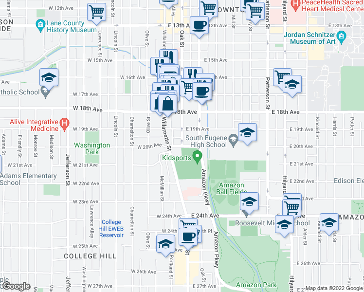 map of restaurants, bars, coffee shops, grocery stores, and more near Oak Street & East 20th Avenue in Eugene