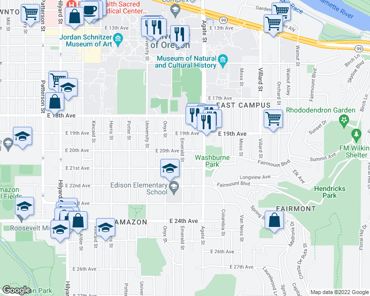 map of restaurants, bars, coffee shops, grocery stores, and more near 1405 East 20th Avenue in Eugene
