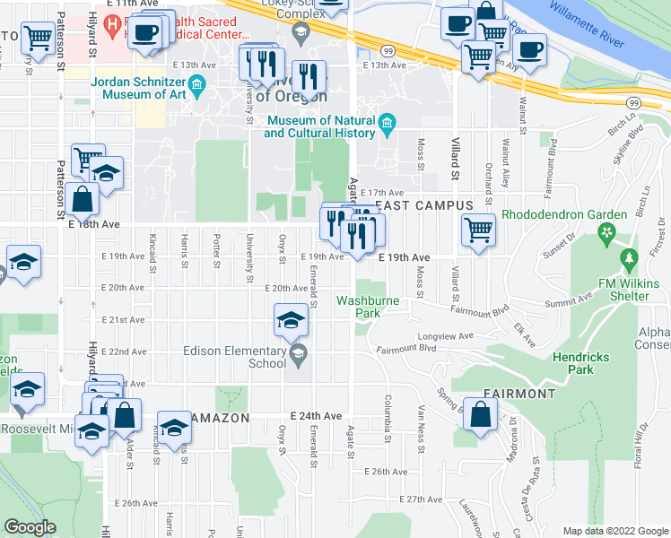 map of restaurants, bars, coffee shops, grocery stores, and more near 1939 Agate Alley in Eugene