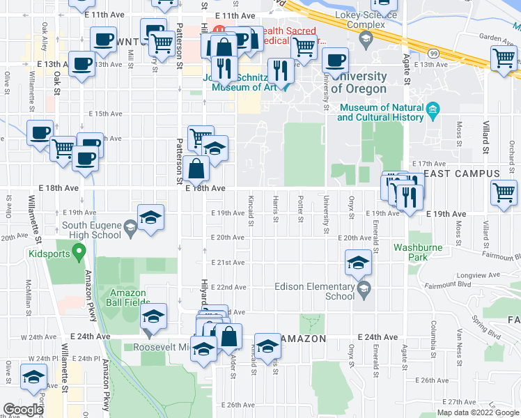 map of restaurants, bars, coffee shops, grocery stores, and more near 945 East 19th Avenue in Eugene