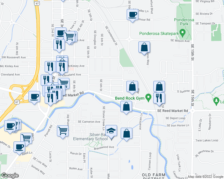 map of restaurants, bars, coffee shops, grocery stores, and more near 630 Southeast Glencoe Place in Bend