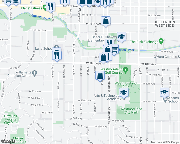 map of restaurants, bars, coffee shops, grocery stores, and more near 1845 Hayes Street in Eugene