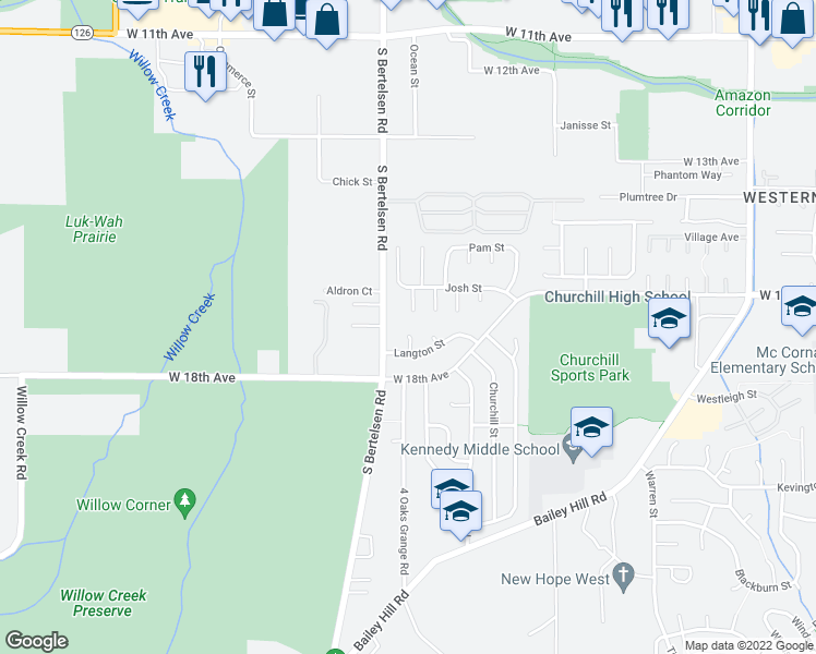 map of restaurants, bars, coffee shops, grocery stores, and more near 4051 Langton Street in Eugene