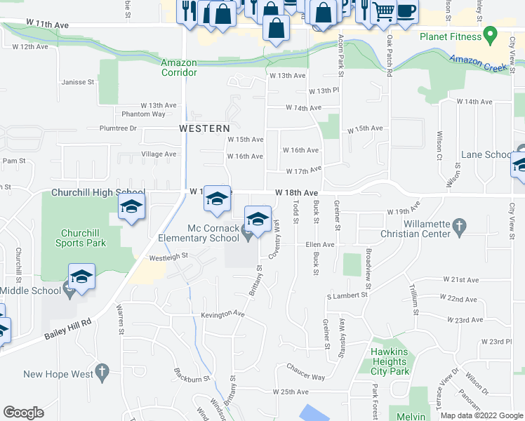 map of restaurants, bars, coffee shops, grocery stores, and more near 1832 Brittany Street in Eugene