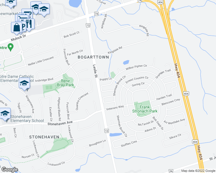 map of restaurants, bars, coffee shops, grocery stores, and more near 1070 Warby Trail in Newmarket