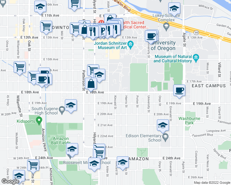 map of restaurants, bars, coffee shops, grocery stores, and more near 901 East 18th Avenue in Eugene