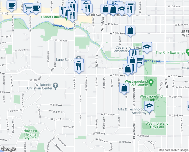map of restaurants, bars, coffee shops, grocery stores, and more near 1854 Arthur Street in Eugene