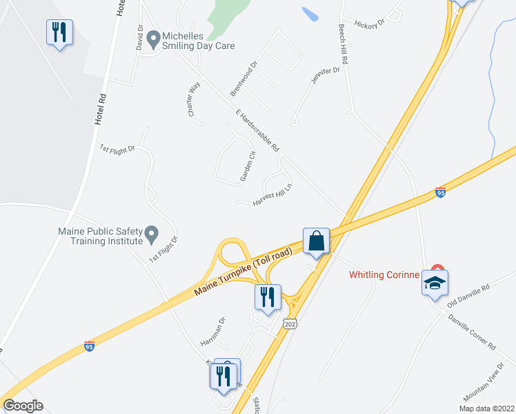 map of restaurants, bars, coffee shops, grocery stores, and more near 40 Harvest Hill Lane in Auburn