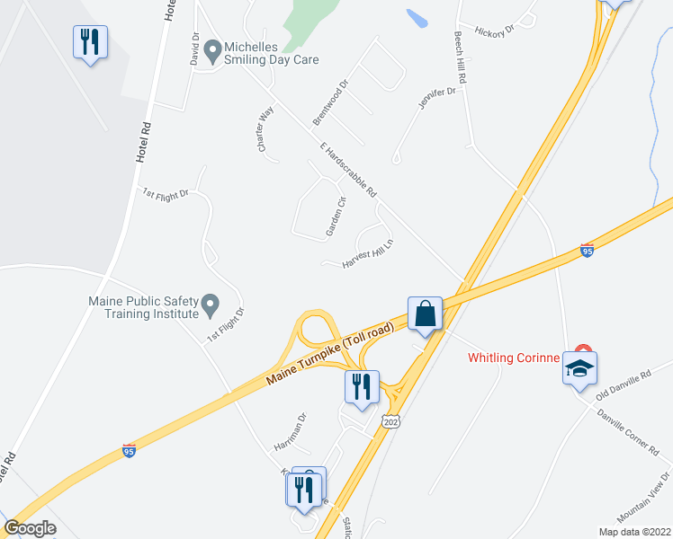 map of restaurants, bars, coffee shops, grocery stores, and more near 58 Harvest Hill Lane in Auburn