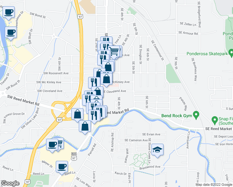 map of restaurants, bars, coffee shops, grocery stores, and more near 367 Southeast Cleveland Avenue in Bend