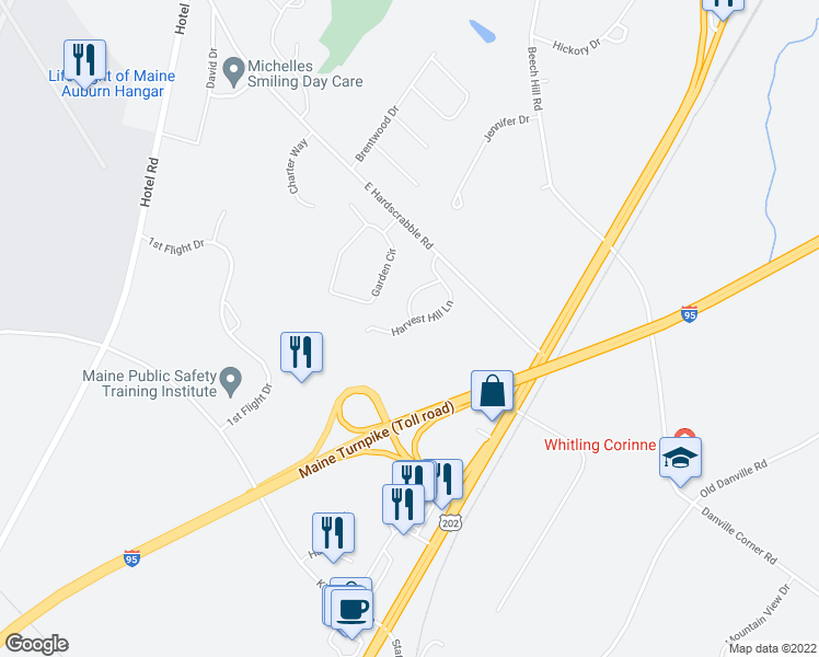 map of restaurants, bars, coffee shops, grocery stores, and more near 24 Harvest Hill Lane in Auburn