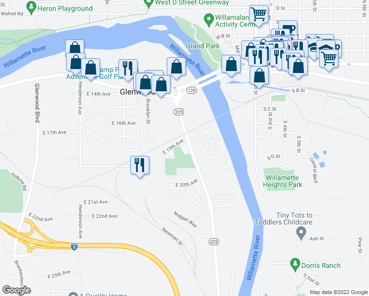 map of restaurants, bars, coffee shops, grocery stores, and more near 4172-4198 East 19th Avenue in Eugene